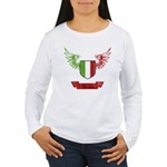 Vintage Italia Flag Wings Women's Long Sleeve T-Sh