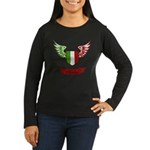 Vintage Italia Flag Wings Women's Long Sleeve Dark