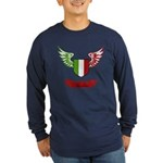 Vintage Italia Flag Wings Long Sleeve Dark T-Shirt
