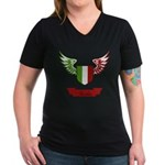 Vintage Italia Flag Wings Women's V-Neck Dark T-Sh
