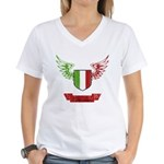 Vintage Italia Flag Wings Women's V-Neck T-Shirt