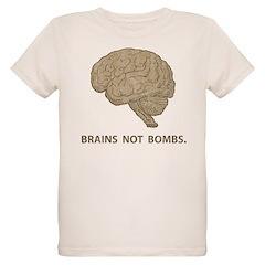 Brains not bombs Organic Kids T-Shirt