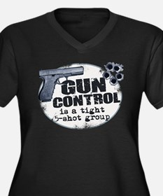 Gun Control Women's Plus Size V-Neck Dark T-Shirt
