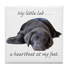 Chocolate Lab Heartbeat Tile Coaster