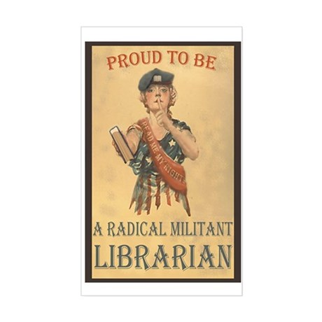 Radical Militant Librarian Sticker (Rectangular