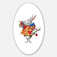 ALICE'S WHITE RABBIT Oval Decal