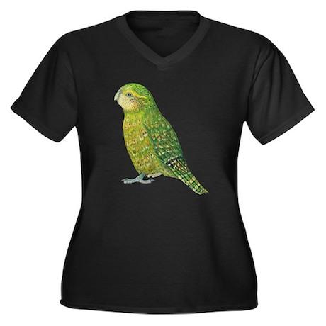 Kakapo Female Women's Plus Size V-Neck Dark T-Shir