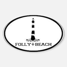 Folly Beach SC - Lighthouse Design Oval Decal
