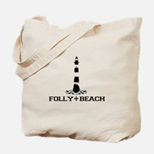 Folly Beach SC - Lighthouse Design Tote Bag