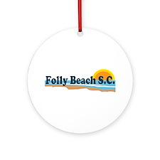 Folly Beach SC - Beach Design Ornament (Round)