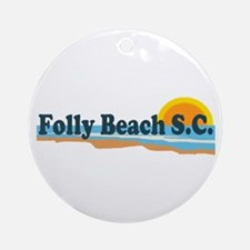 Folly Beach SC - Beach Design Ornament (Round)