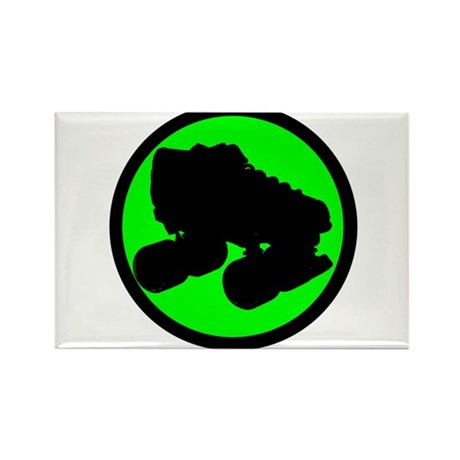 Circle Skate Green Rectangle Magnet