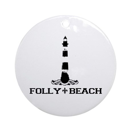 Folly Beach SC - Lighthouse Design Ornament (Round