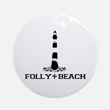Folly Beach SC - Lighthouse Design Ornament (Round