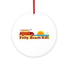 Folly Beach - Surfing Design Ornament (Round)