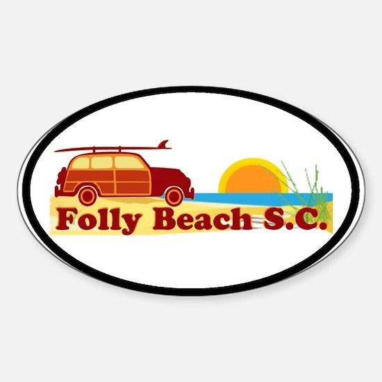 Folly Beach - Surfing Design Oval Decal