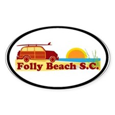 Folly Beach - Surfing Design Oval Stickers