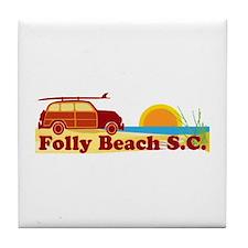 Folly Beach - Surfing Design Tile Coaster