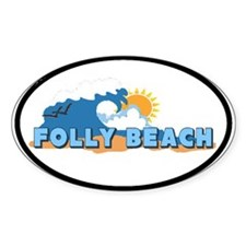 Folly Beach - Sun and Waves Design Oval Decal