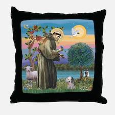 St. Francis / Poodle (parti) Throw Pillow
