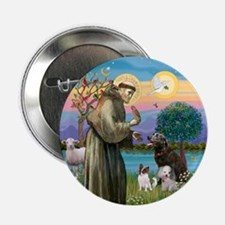 "St Francis/3 dogs 2.25"" Button"