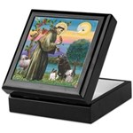 St Francis/3 dogs Keepsake Box