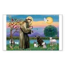 St Francis/3 dogs Rectangle Decal