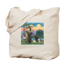 St Francis/3 dogs Tote Bag