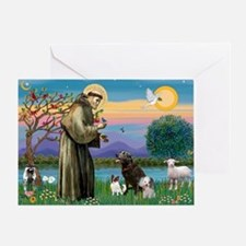 St Francis/3 dogs Greeting Card