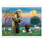 St Francis/3 dogs Small Poster