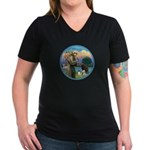 St Francis/3 dogs Women's V-Neck Dark T-Shirt