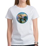 St Francis/3 dogs Women's T-Shirt