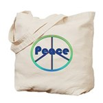 Blue / Green Peace Sign Tote Bag