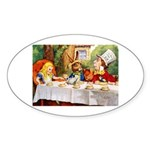 MAD HATTER'S TEA PARTY Oval Sticker (10 pk)