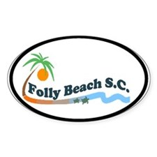 Folly Beach - Waves Design Oval Decal