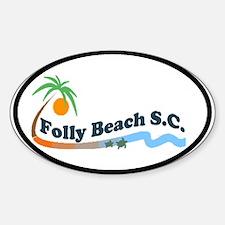 Folly Beach - Waves Design Oval Decal