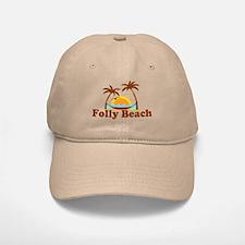 Folly Beach - Sun and Palm Trees Design. Baseball Baseball Cap