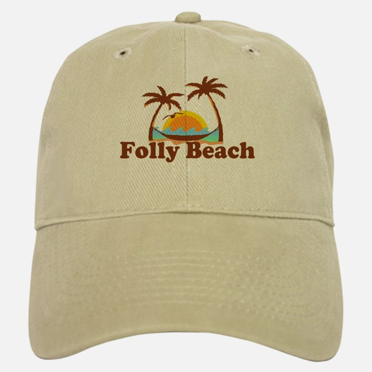 Folly Beach - Sun and Palm Trees Design. Baseball Baseball Cap