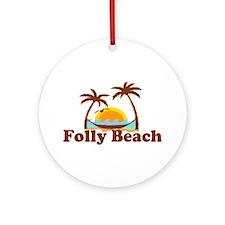 Folly Beach - Sun and Palm Trees Design. Ornament