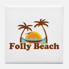 Folly Beach - Sun and Palm Trees Design. Tile Coas
