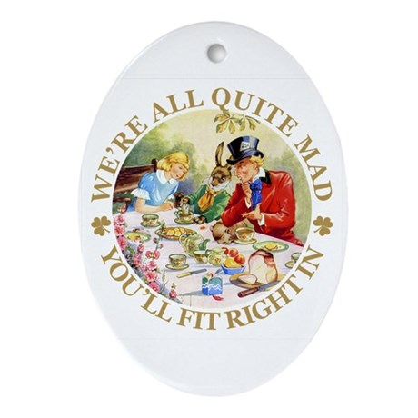 MAD HATTER'S TEA PARTY Oval Ornament