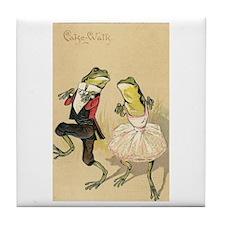 Cake Walk Dancing Frogs Vintage Art Tile Coaster