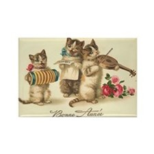 Cat Musicians Vintage Art Rectangle Magnet