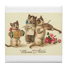 Cat Musicians Vintage Art Tile Coaster