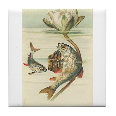 Fish Playing Accordion Vintage Art Tile Coaster