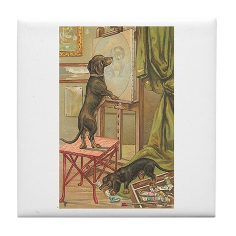 Dachshund Dogs Painting Art Tile Coaster