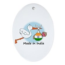 Stork Baby India Oval Ornament