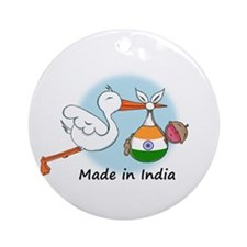 Stork Baby India Ornament (Round)