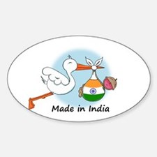 Stork Baby India Oval Decal