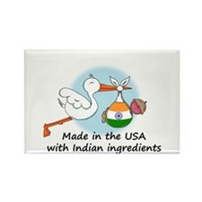 Stork Baby India USA Rectangle Magnet